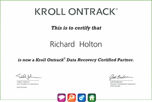 Kroll Ontrack Certificate for Data Recovery